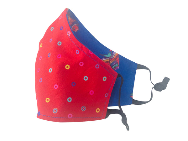 Fantastic Fish Reversible Cotton Face Mask - Cobalt