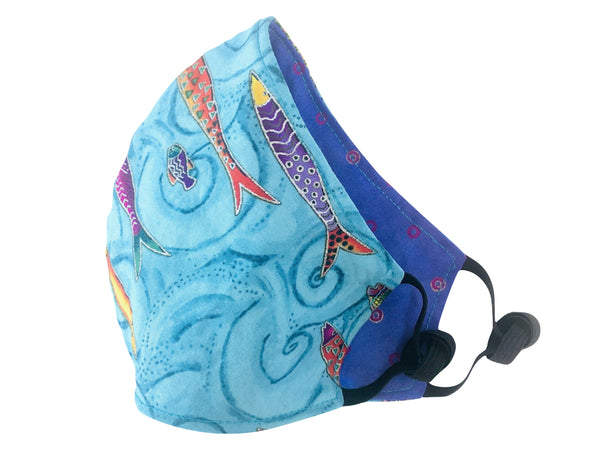 Teal Fish Cotton Reversible Face Mask