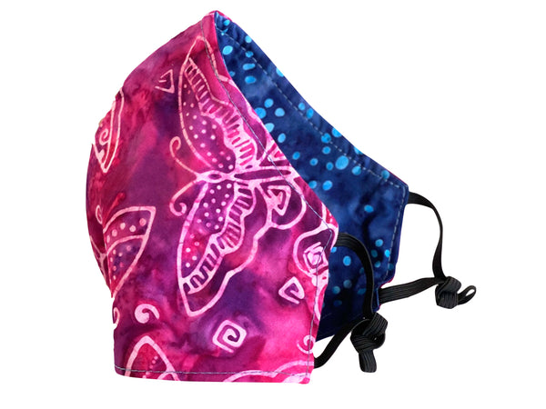 Butterfly Batik Reversible Cotton Face Mask - Magenta
