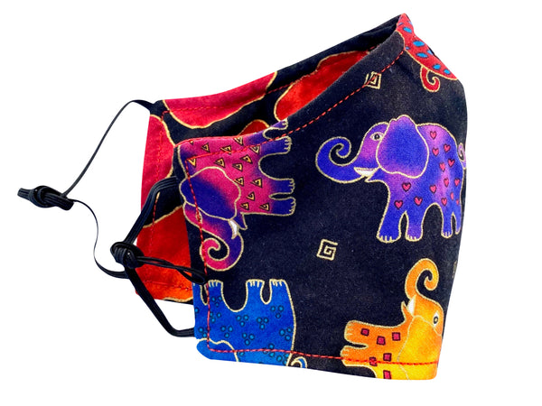 Kids' Elephant Reversible Cotton Face Mask - Multi
