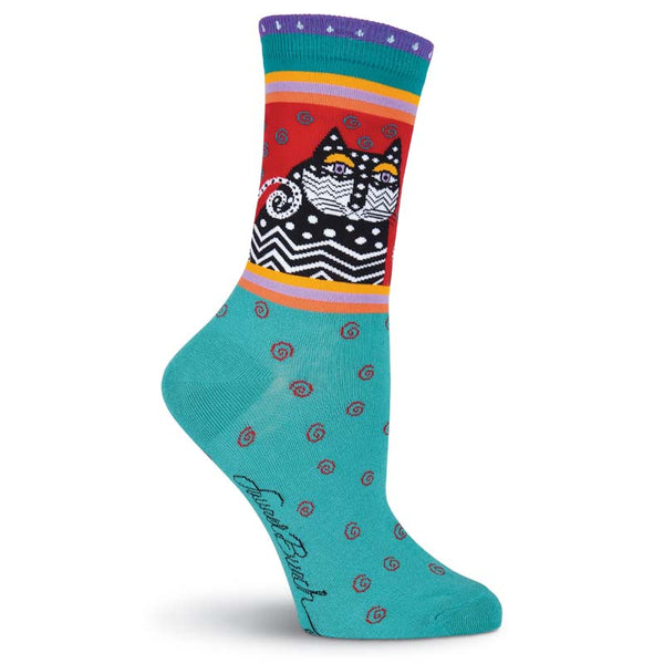 Women's Polka Dot Cat Crew Socks - Turquoise