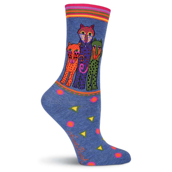 Women's Polka Dot Leopard Crew Socks - Denim