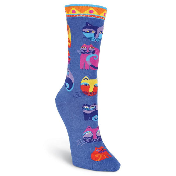 Women's Feline Festival Blue Socks Women's Socks Laurel Burch Studios - Laurel Burch Studios