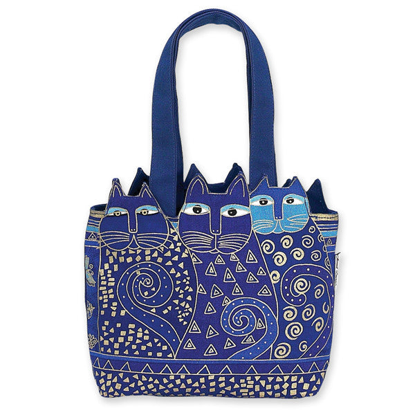 Indigo Cats Medium Cutout Tote Bags Sun'N'Sand - Laurel Burch Studios