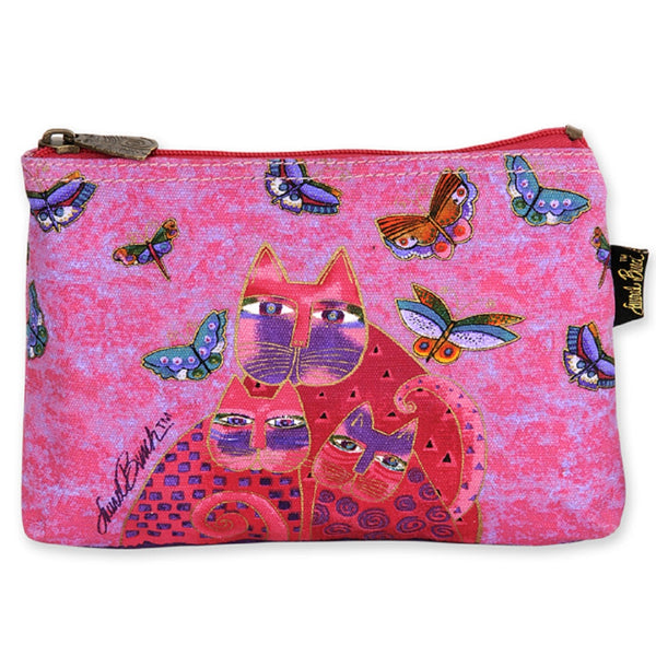 Pink Feline Mini Cosmetic Bag Bags Sun'N'Sand - Laurel Burch Studios