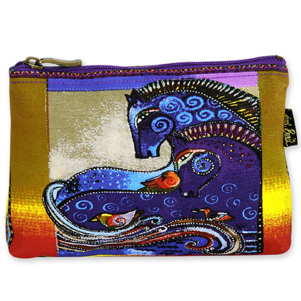 Aquatic Horses Long Cosmetic Bag Bags Laurel Burch Studios - Laurel Burch Studios