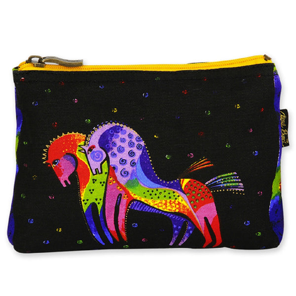 Folkloric Horses Long Cosmetic Bag Bags Laurel Burch Studios - Laurel Burch Studios