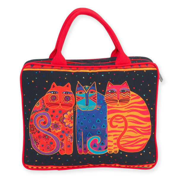 Feline Friends Large Cosmetic Tote Bags Sun'N'Sand - Laurel Burch Studios