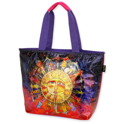 Harmony Under the Sun Foiled Canvas Shoulder Tote Bags Sun'N'Sand - Laurel Burch Studios