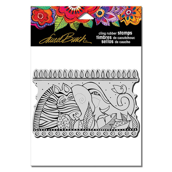 Rainbow Safari Cling Stamp Set Stamps Laurel Burch Studios - Laurel Burch Studios