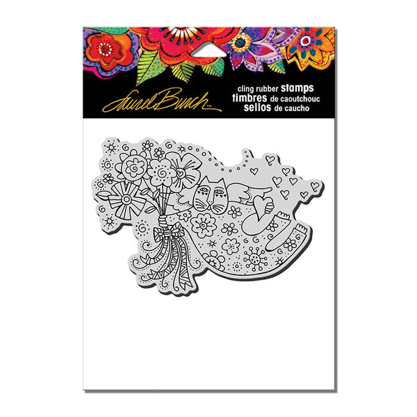 Love Cat Angel Cling Stamp Set Stamps Laurel Burch Studios - Laurel Burch Studios