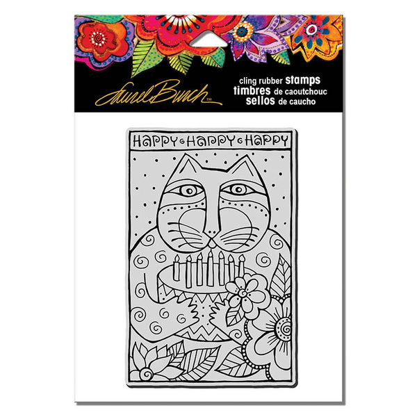 Happy Birthday Cat Cling Rubber Stamp Stamps Laurel Burch Studios - Laurel Burch Studios