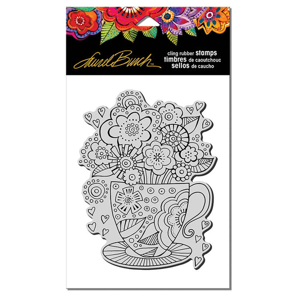 Teacup Cling Stamp Set Stamps Laurel Burch Studios - Laurel Burch Studios