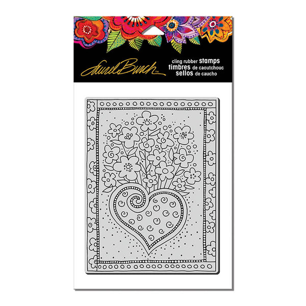 Heart Boquet Cling Stamp Set Stamps Laurel Burch Studios - Laurel Burch Studios