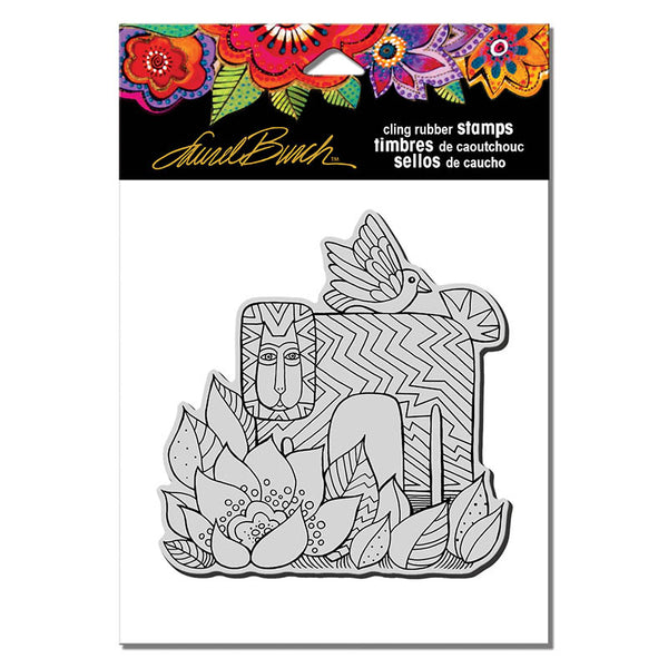 Lion with Bird Cling Stamp Set Stamps Laurel Burch Studios - Laurel Burch Studios