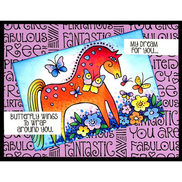 Mystical Mare Cling Rubber Stamp Stamps Laurel Burch Studios - Laurel Burch Studios