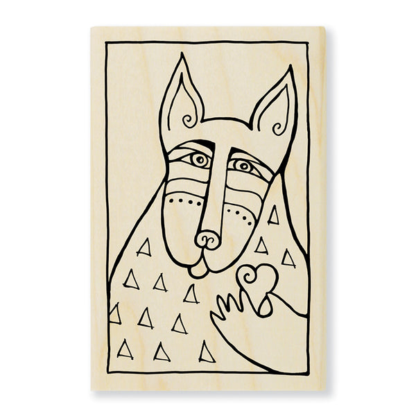 Dog Love Wooden Rubber Stamp Stamps Laurel Burch Studios - Laurel Burch Studios