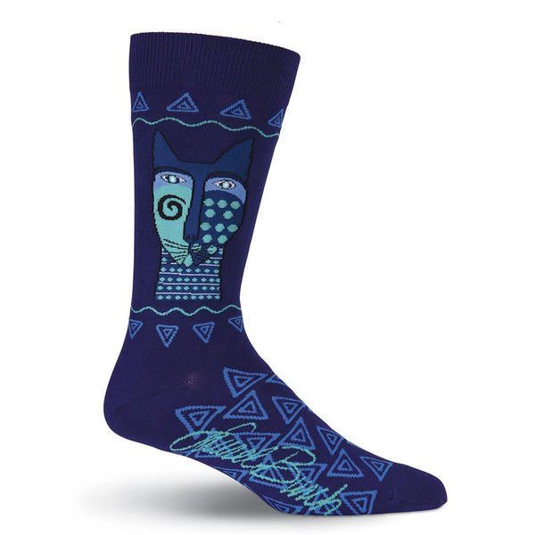 Men's Blue Felines Crew Socks Men's Socks K. Bell Socks - Laurel Burch Studios