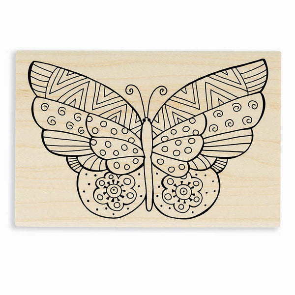 Flutterbye Wooden Rubber Stamp Stamps Laurel Burch Studios - Laurel Burch Studios