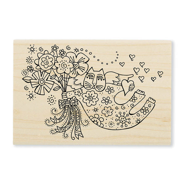 Love Cat Angel Wooden Stamp Stamps Laurel Burch Studios - Laurel Burch Studios