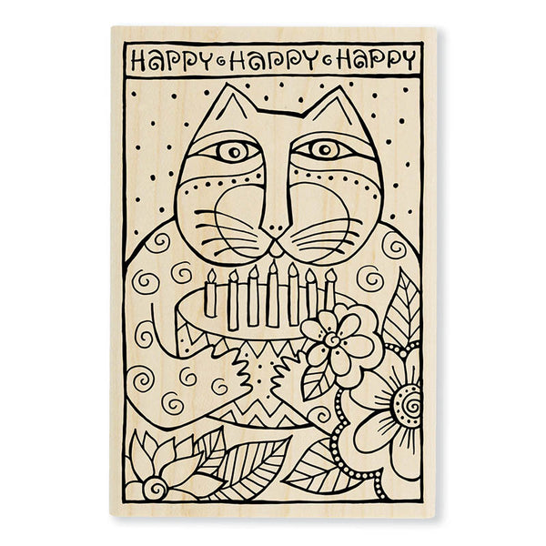 Happy Birthday Cat Wooden Rubber Stamp Stamps Laurel Burch Studios - Laurel Burch Studios