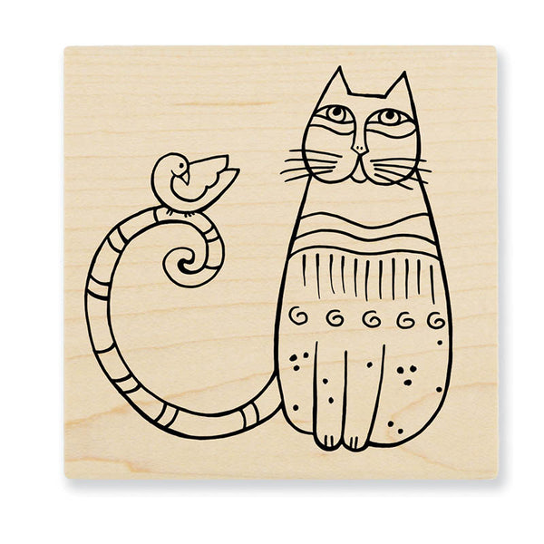 Cat and Feathered Friend Wooden Stamp Stamps Laurel Burch Studios - Laurel Burch Studios