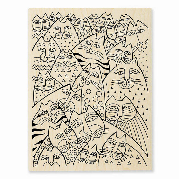 Whiskers Wooden Rubber Stamp