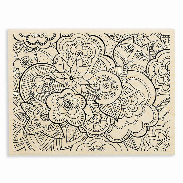 Carlotta's Garden Wooden Rubber Stamp Stamps Laurel Burch Studios - Laurel Burch Studios