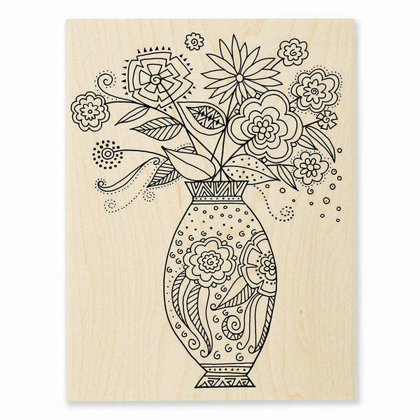 Floral Vase Wooden Rubber Stamp Stamps Laurel Burch Studios - Laurel Burch Studios