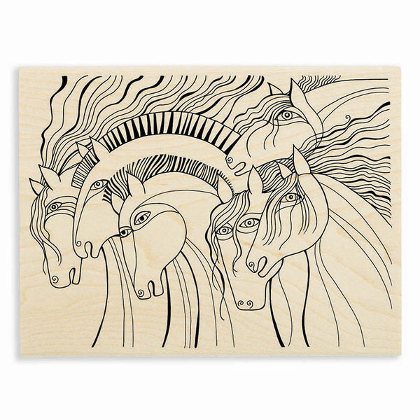 Wild Horses Wooden Rubber Stamp