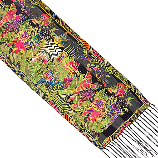Secret Jungle Silk Scarf Scarves Sun'N'Sand - Laurel Burch Studios