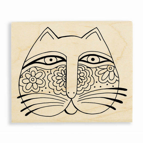 Feline Face Wooden Rubber Stamp Stamps Laurel Burch Studios - Laurel Burch Studios