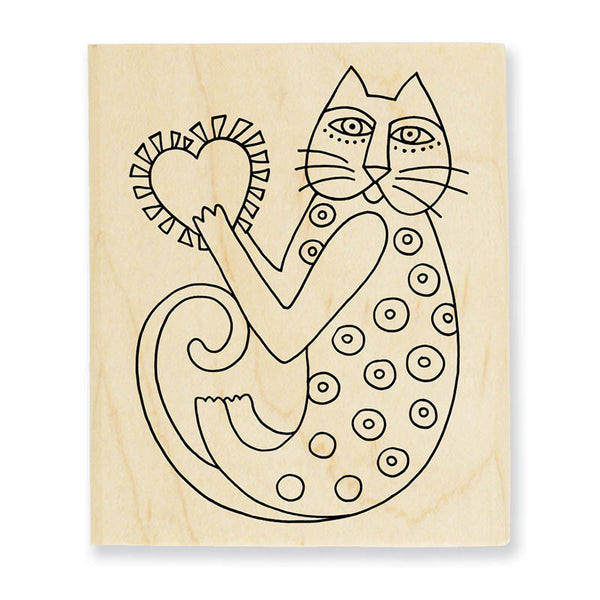 A Happy Heart Wooden Rubber Stamp Stamps Laurel Burch Studios - Laurel Burch Studios