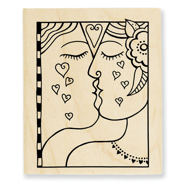 Kiss Wooden Rubber Stamp Set