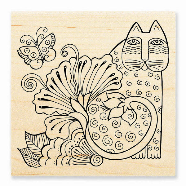 Blossoming Feline Wooden Rubber Stamp Stamps Laurel Burch Studios - Laurel Burch Studios