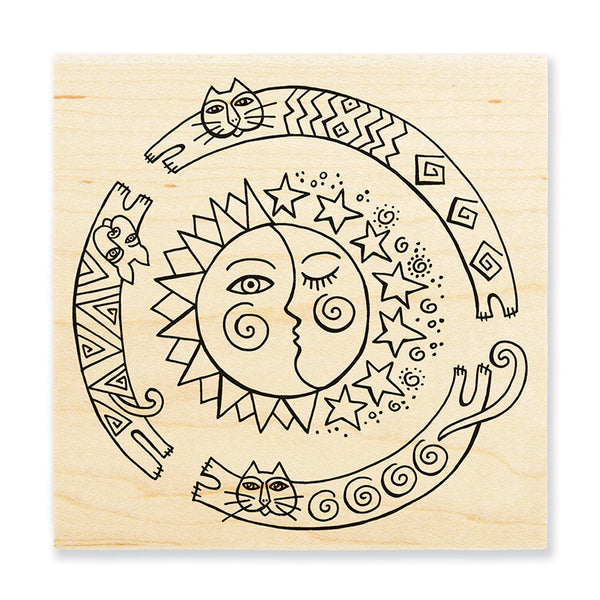 Sun Chase Wooden Stamp Stamps Laurel Burch Studios - Laurel Burch Studios