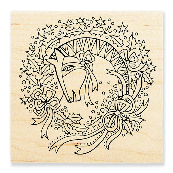 Wreath Mare Rubber Wooden Stamp