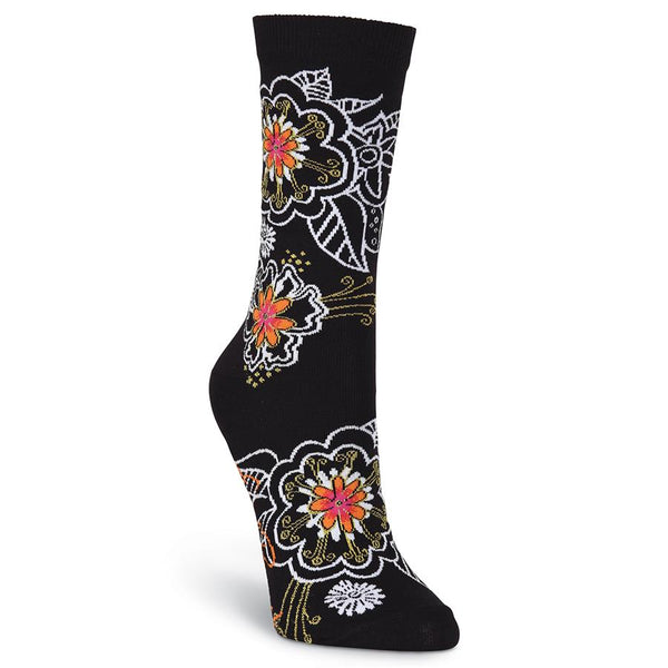 Women's White on Black Orange Floral Socks Women's Socks Laurel Burch Studios - Laurel Burch Studios