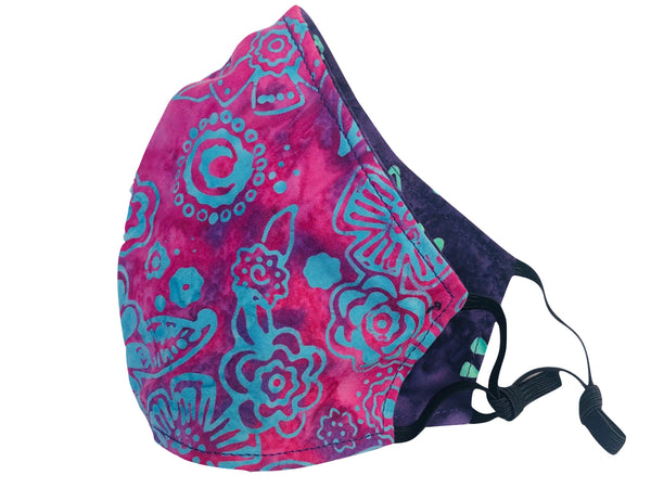 Floral Batik Reversible Cotton Face Mask - Magenta