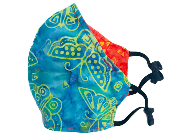 Butterfly Fields Reversible Cotton Face Mask - Blue