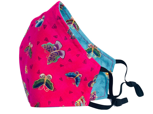 Flutterbies Reversible Cotton Face Mask - Fuchsia or Blue