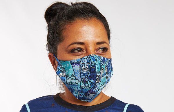 NEW! Feline Frolic Adjustable Filter Pocket Cotton Face Mask - Blue