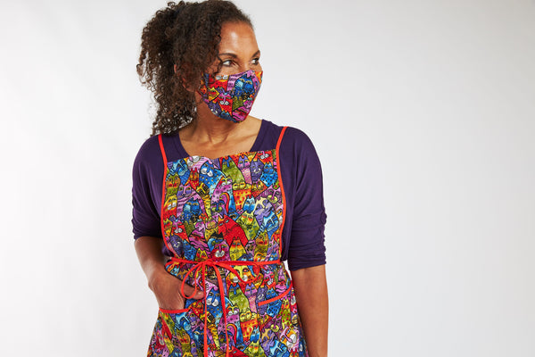 Feline Frolic Apron + Mask Set - Multi