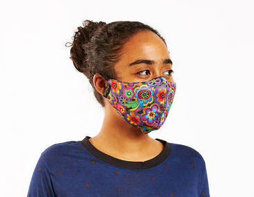 Florals Adjustable Poly-Cotton Face Mask