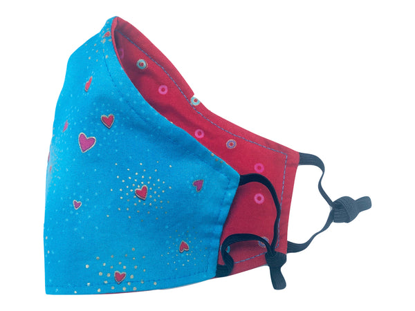 Kids' Baby Hearts Reversible Cotton Face Mask - Blue