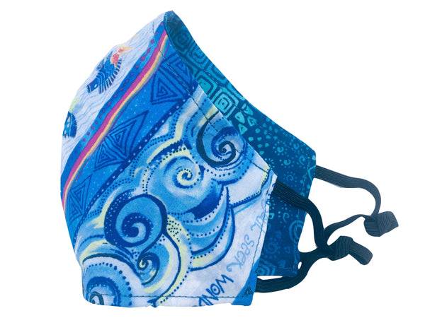 Ocean Waves Cotton Reversible Face Mask