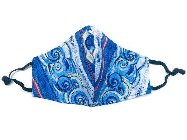 Kids' Ocean Waves Reversible Cotton Face Mask - Blue