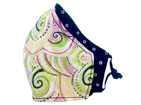 Cloud Swirls Reversible Cotton Face Mask - Multi Pastels