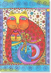 Cat and Kitten Mother's Day Card  Laurel Burch Studios - Laurel Burch Studios