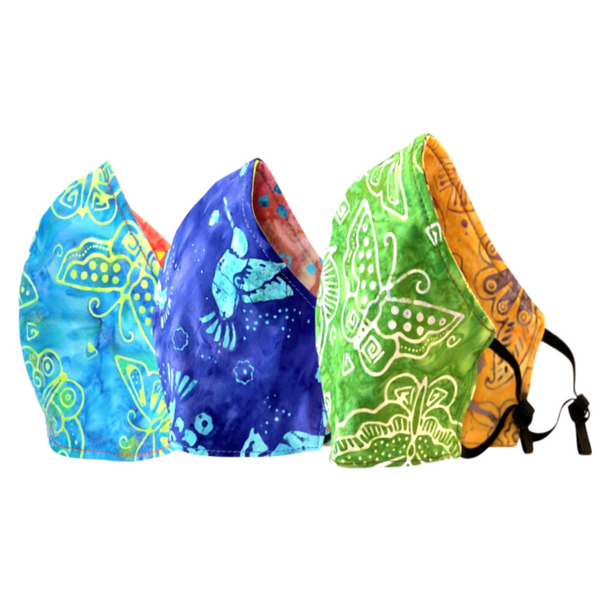 3-Pack Blue Butterflies, Hummingbirds, Green Butterflies Reversible Cotton Face Masks